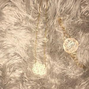 Initial necklace and bracelet initials A L J - aJl